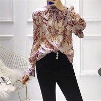 2019 Summer Woman Silk Shirts Elegant Pleat Fashion Stand Collar Bowknot Floral Print Long Sleeve Tops Blouse