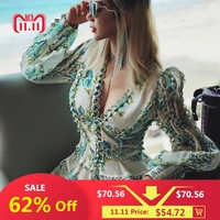 Europe Runway Designer Dress 2018 Women's High Quality Puff Sleeve Sexy V neck Floral Printed Embroidery Button Resort Dress