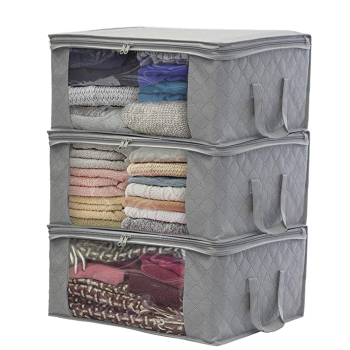 1/3Pcs Non-woven Foldable Portable Clothes Organizer Tidy Pouch Suitcase Home Storage Box Quilt Storage Container Bag - Grey