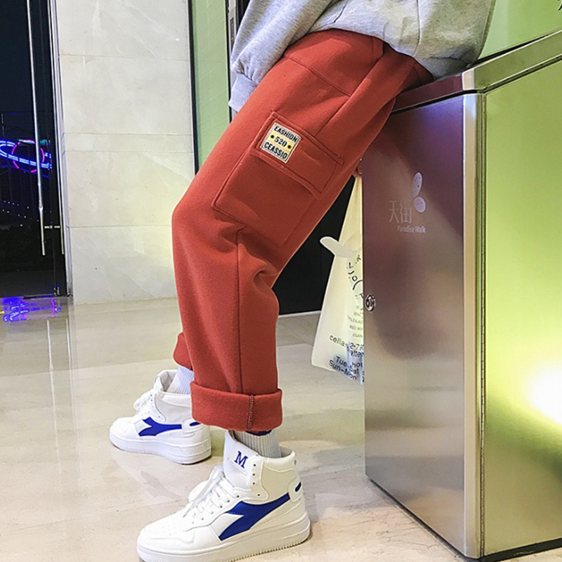 2018 New Plus Velvet Thickening Multi-pocket Tooling Couple Harem Pants Warm Autumn And Winter Leisure Loose