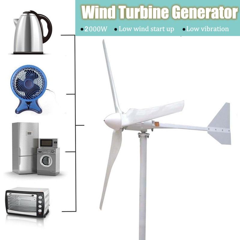 2000W Horizontal Wind Turbines Generator 3 FRP Blades with Grid Tie Wind Inverter 240v 220v 230vAC2000W Horizontal Wind Turbines Generator 3 FRP Blades with Grid Tie Wind Inverter 240v 220v 230vAC