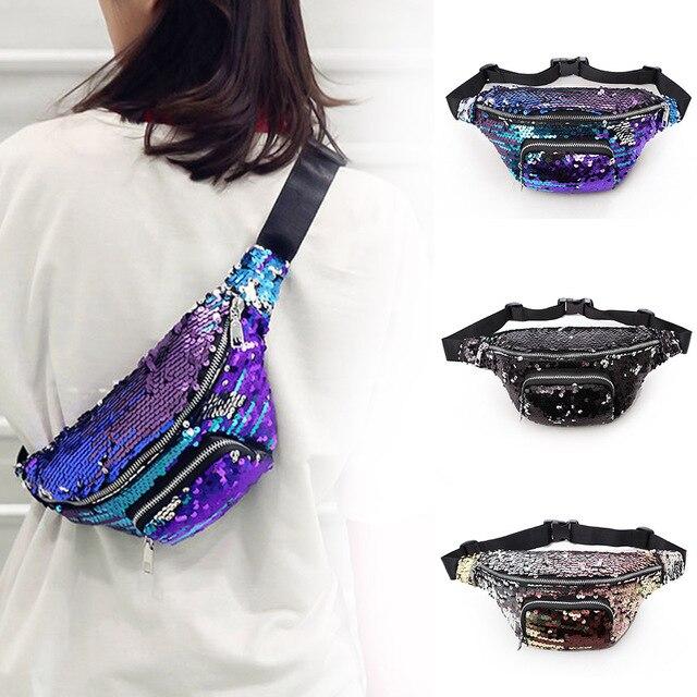 Sequins Glitter Fanny Pack Feminina Waist Pack Women's Laser Chest Waist Bag Women Belt Bag Bum Bag 2018 New