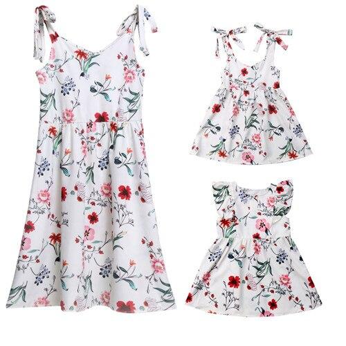 2019 été famille robe mère et fille correspondant fille tenues robes maman et fille correspondant vêtements coton 4