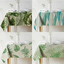 Nordic Palm Leaves Plant Printed Tablecloth Waterproof Linen Polyester Rectangular Dining Table Cloth Decor Textile