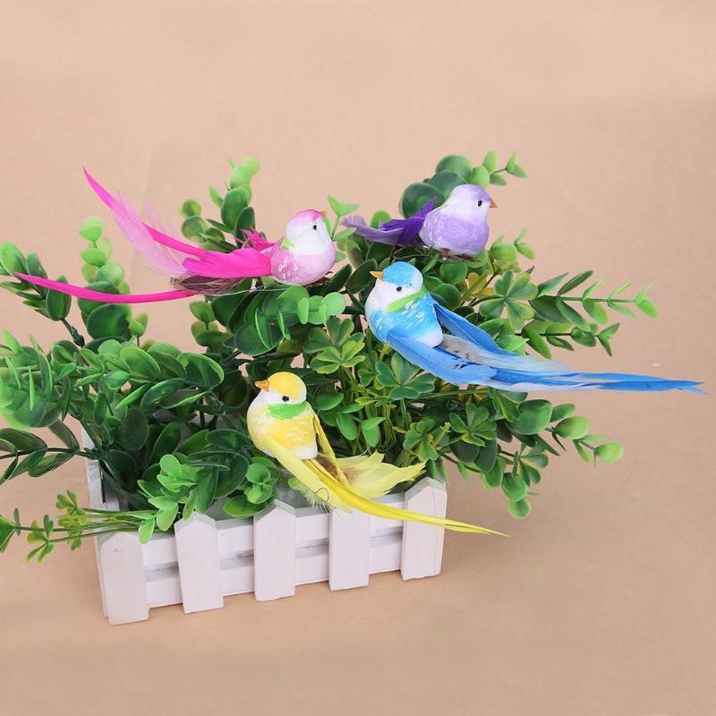 4pcs Simulation Bird Artificial 3D Foam Feather Bird DIY Party Crafts Imitation Bird Ornament Props Home Garden Wedding Decor