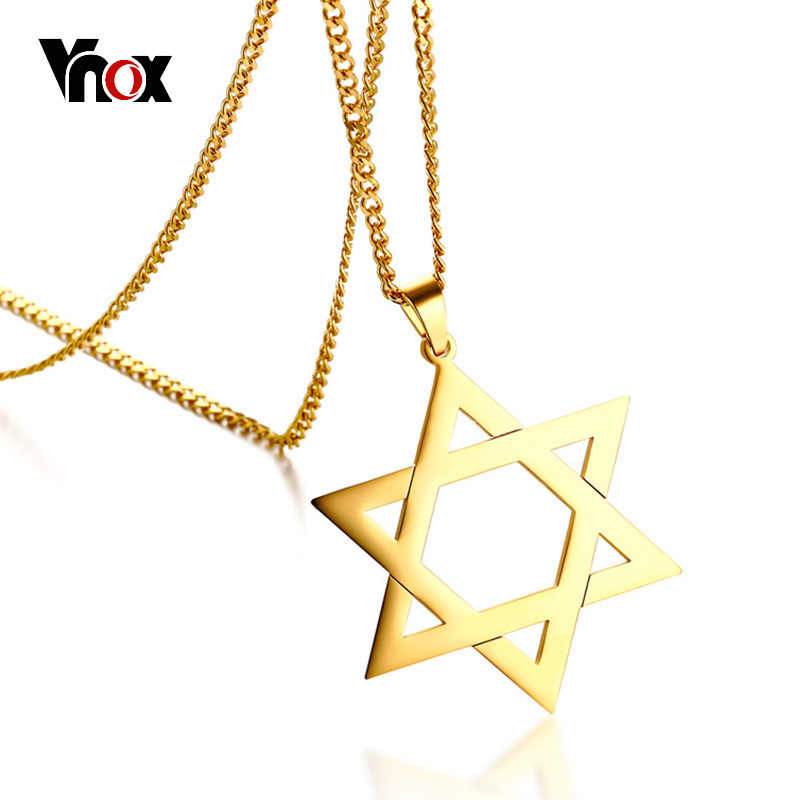 "Vnox Trendy Hexagram Pendant Necklace for Man High Quality Stainless Steel Star of David Shape 24"" Link Chain Male Jewelry"