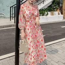 Vintage Gauze Flower Embroidery Mesh Dress Women Double-Breasted Notched Lantern Sleeve Sashes Long Dress plus flower applique lantern sleeve dress