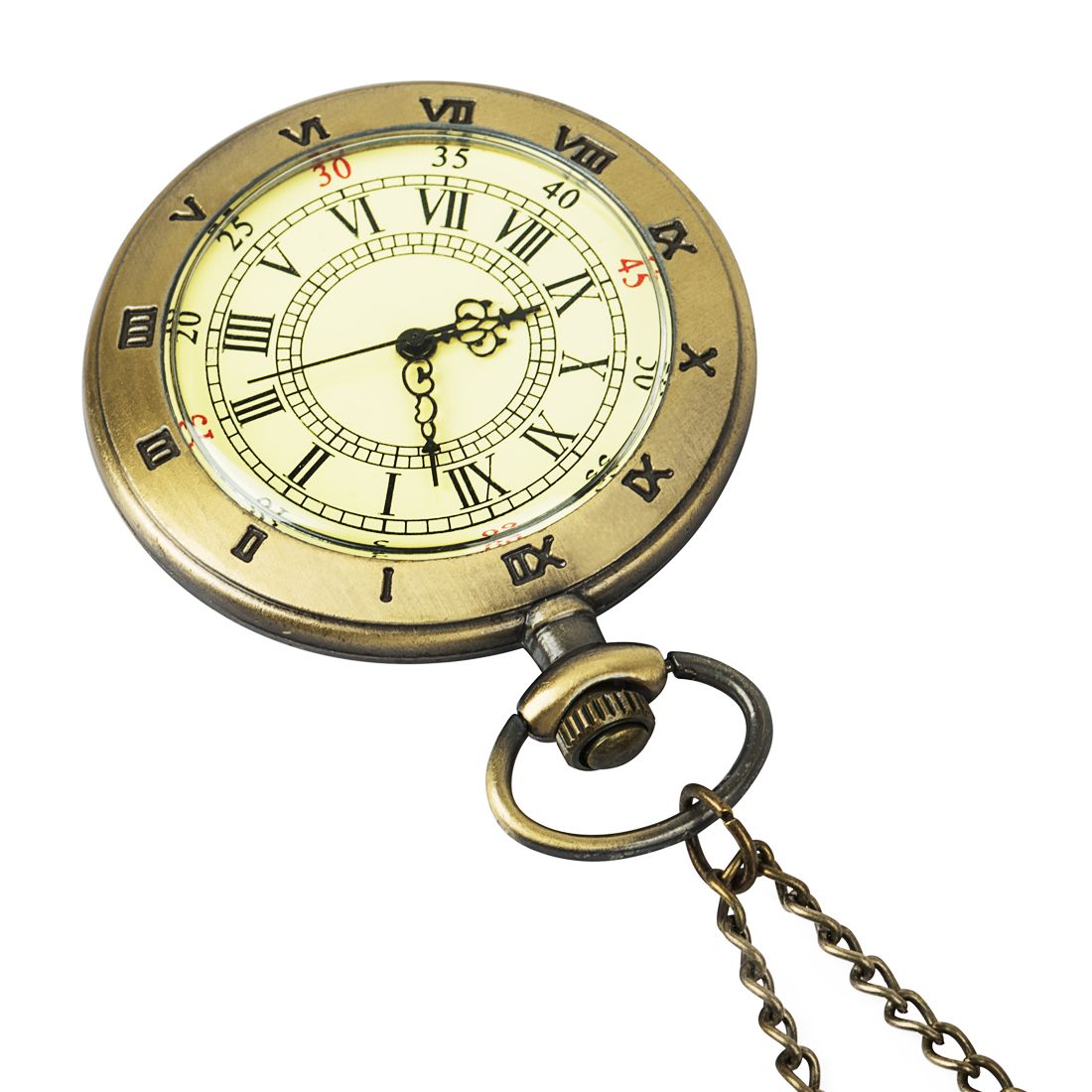 Antique Style Open Face Hand Winding Mechanical Pocket Watch Chain Roman Numbers Retro Fob Women Steampunk Nurse Wind Up Gift