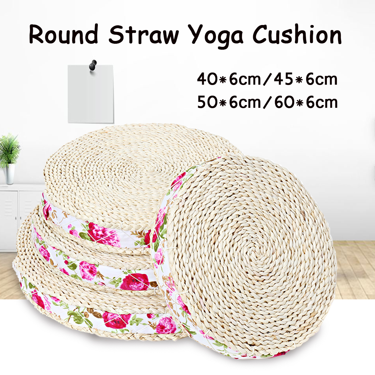 Natural Straw Round Pouf Tatami Cushion Straw Weave ...