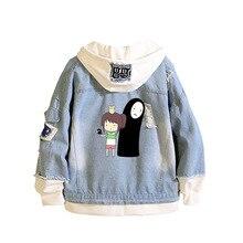 Аниме Тоторо джинсы Толстовка Harajuku стиль 3D принт Унесенные призраками с капюшоном Косплей Толстовка Без лица человек джинсовая куртка A9019