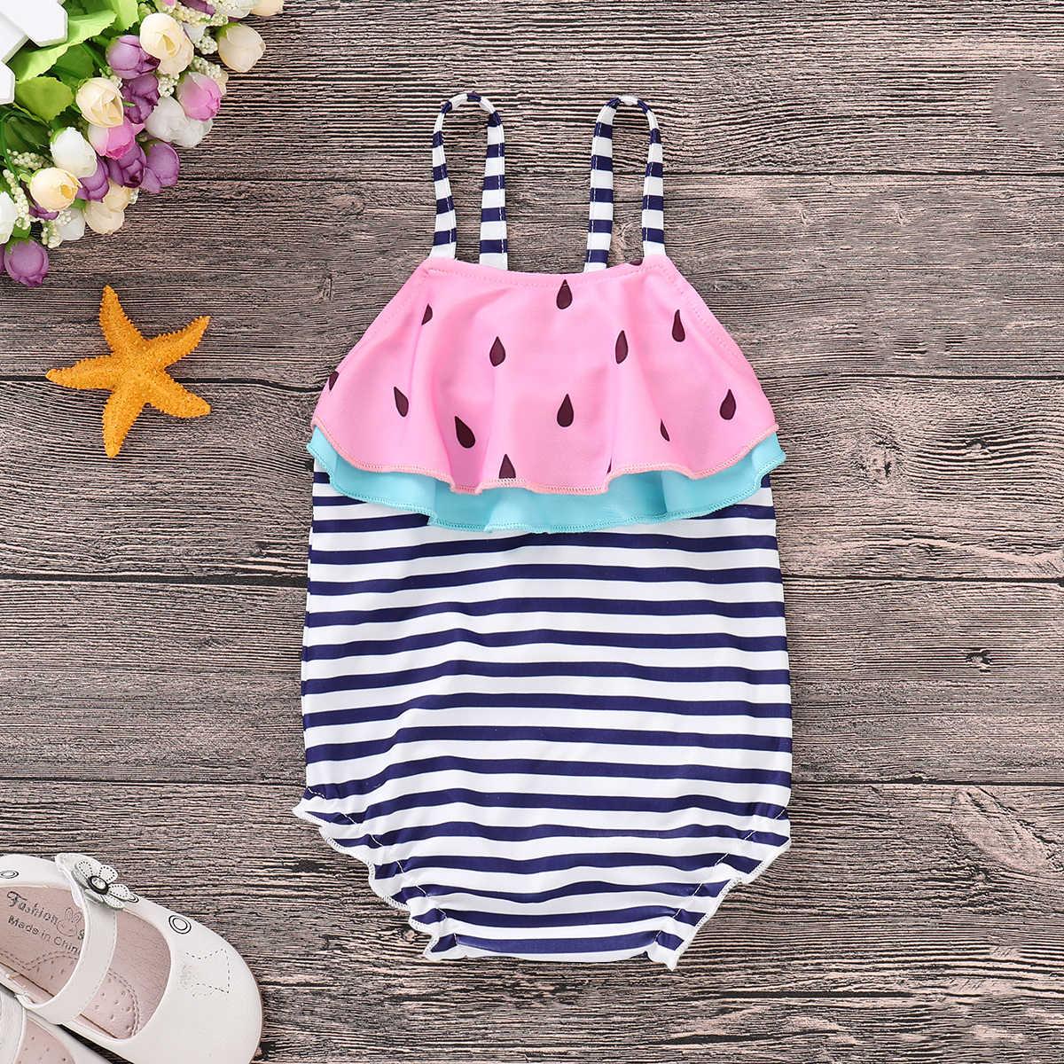 b6977163c ... Toddler Kids Baby Girl Swimwear 2019 Ruffle Watermelon Striped One  Piece Bikini Summer Baby Girl Swimsuit ...