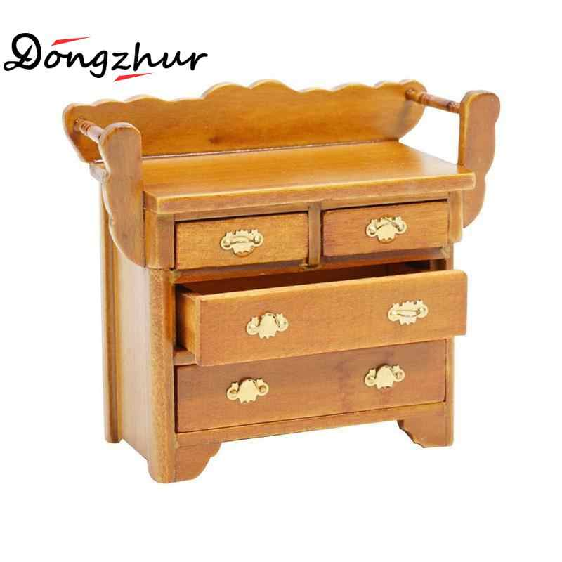 Cute Mini Drawer Cabinet Dollhouse Miniature 1:12 Wood Doll House Miniature Furniture Model Walnut Color Foyer Chest Drawers