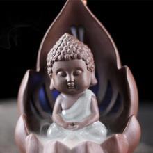 Backflow Incense Burner Ceramic Little Monk Holder Home Decor Aromatherapy Buddha Censer Ganesha Buddhist Decoration