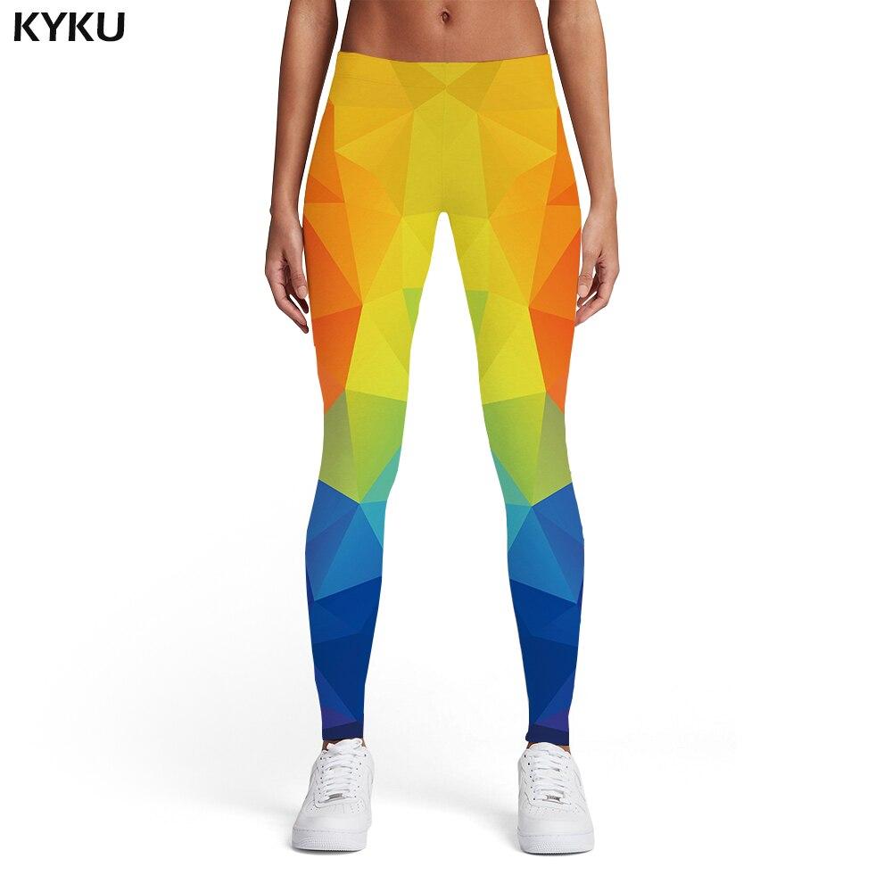 KYKU Geometric Leggings Women Colorful Spandex Vintage Sexy Rainbow Ladies Graphics Trousers Womens Leggings Pants Jeggings