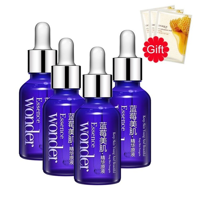 4PCS BIOAQUA Blueberry Wonder Liquid Essence Facial Serum Hyaluronic Acid Anti Aging Moisturizing + 3PCS Gifts Honey Face Mask