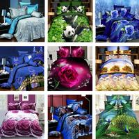 4Pcs Bedding Set 3D Flower Animal Printed Duvet Cover Bed Sheet Pillowcases Pillow Case Bed Set Bedding Outlet Home Decor