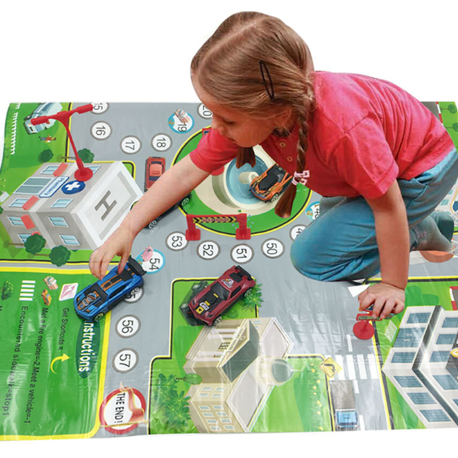 Kids Baby 75x52cm City Road Playmat City Traffic Carpet Highway Map Rug Playing Game Mat With Dice Interactive Educational Toy