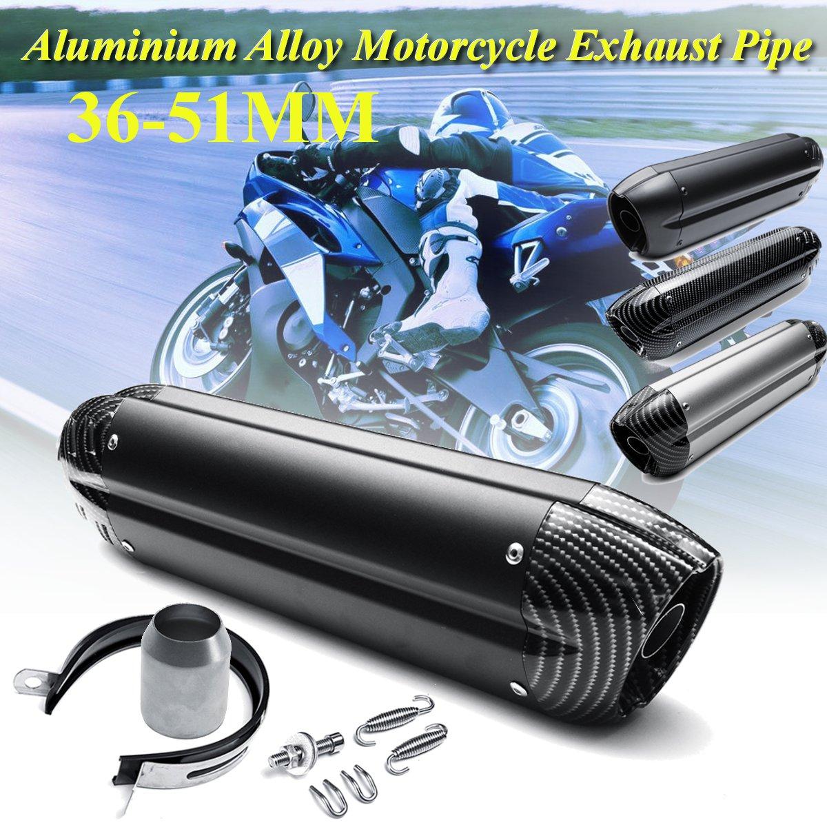 36-51mm Universal 470mm Aluminium Alloy Motorcycle Exhaust Muffler Tip Replacement  for Honda for Yamaha for Kawasaki for Suzuki36-51mm Universal 470mm Aluminium Alloy Motorcycle Exhaust Muffler Tip Replacement  for Honda for Yamaha for Kawasaki for Suzuki