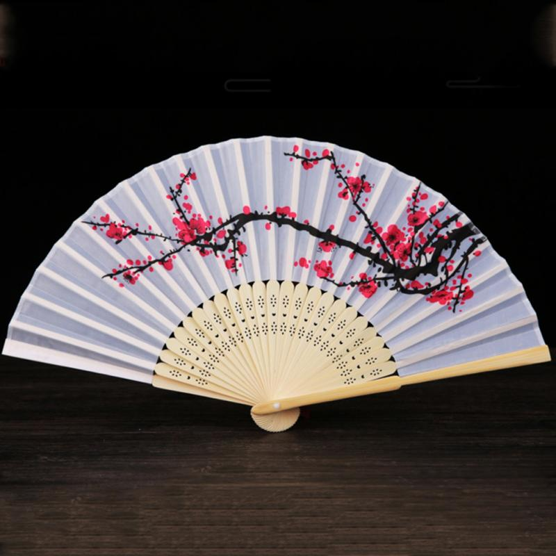 Chinese Folding Hand Fan Japanese Cherry Blossom Design Silk Costume Party