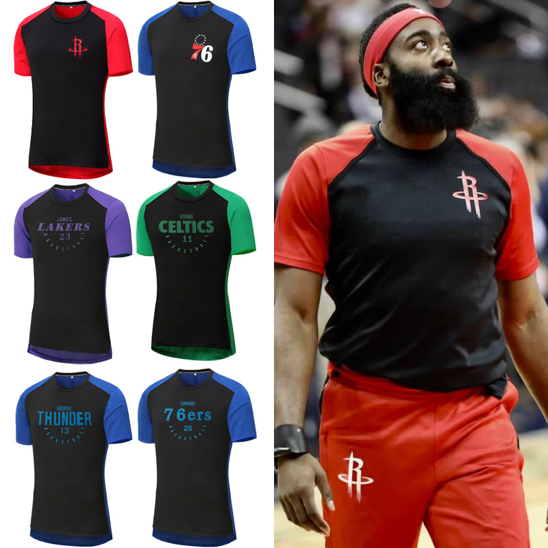 super popular e2209 5933a US $5.8 40% OFF|USA Basketball Sports Short sleeved T shirt Hoodies  Durant/Curry/James/Harden/Irving/Bryant Breathable training suit  Sweatshirt-in ...
