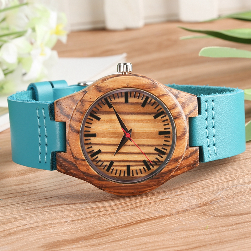 Top Fashion Blue Women Watch Simple Bamboo Wood Analog Female Leisure Hour Clock Summer Dress Quartz Wristwatch Horloges Vrouwen