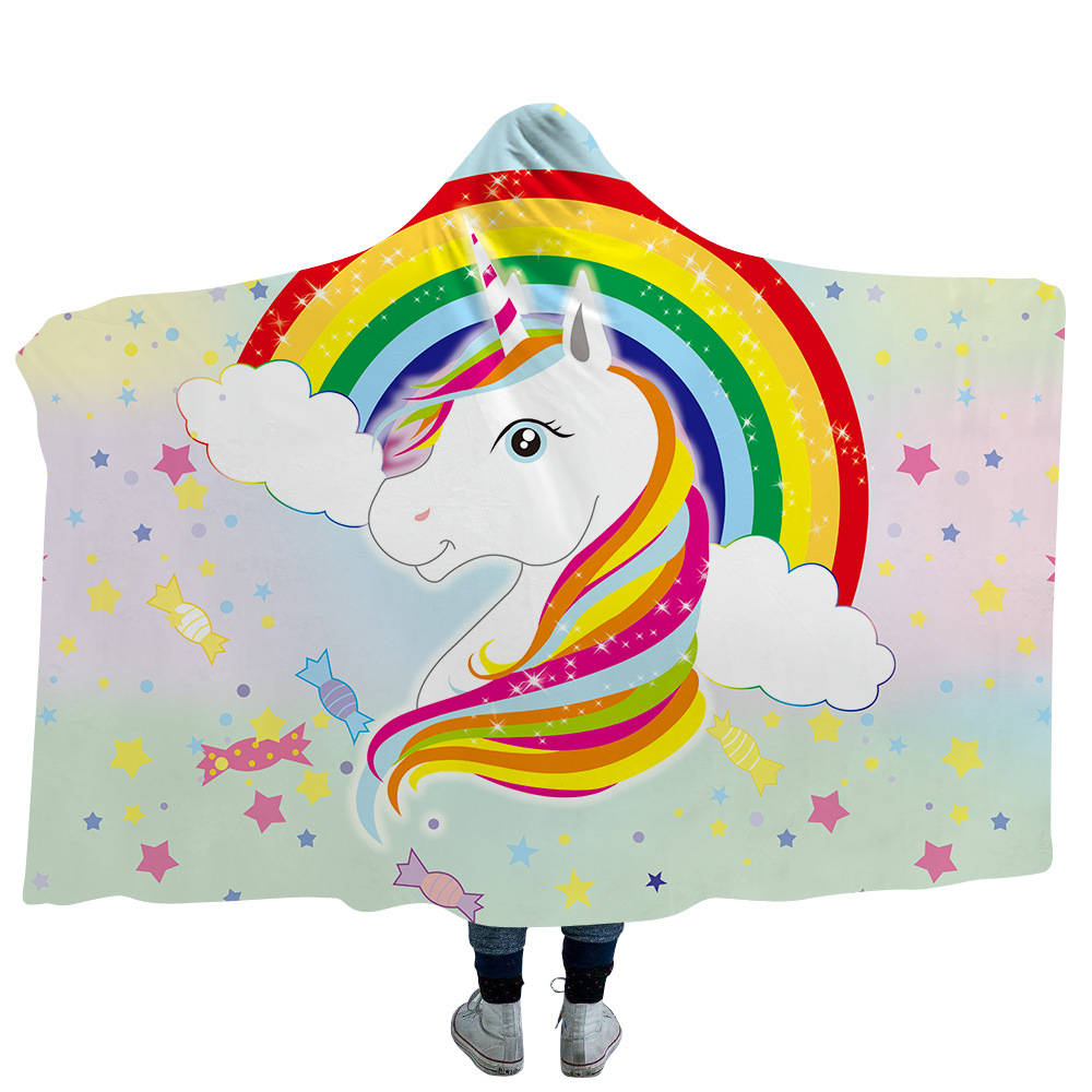 Cartoon Rainbow Unicorn Print Winter Warm Fleece Blanket Adult Kids Wareable Hooded Blankets Sofa Bedding Sherpa Velvet Throws