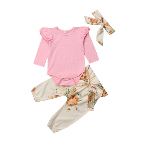 b179f7a280b 3Pcs Newborn Toddler Baby Girls Infant Ruffles Tops Romper +Floral Leggings  Strappy Pants Headband Outfits Clothes Set 0-24M