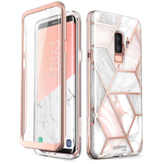 new product 5e437 9152c US $14.99 25% OFF|For Samsung Galaxy S9 Plus Case i Blason Cosmo Full Body  Glitter Marble Bumper Protective Cover with Built in Screen Protector-in ...