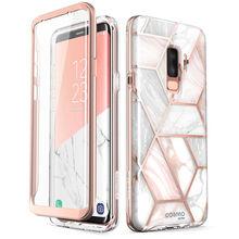 Pour Samsung Galaxy S9 Plus étui i blason Cosmo coque de protection en marbre à paillettes avec protection décran intégrée