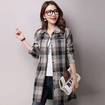 #2914 Vintage Tunic Shirt Women Long Sleeve Plaid Cotton Linen Blouse Female Plus Size Casual Casual Long Linen Tunic Top Spring