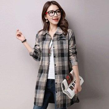 цена #2922 Vintage Tunic Shirt Women Long Sleeve Plaid Cotton Linen Blouse Female Plus Size Casual Casual Long Linen Tunic Top Spring онлайн в 2017 году