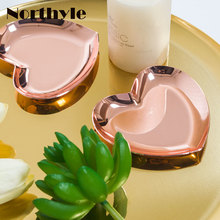 Nordic Metal golden tray mini heart plate iron storage home decoration jewelry dish steel DIY wedding decor