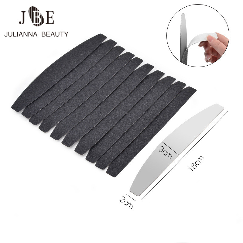 1pcs Metal Plate With 10pcs Disposable Replacement Sand Paper Black Nail Files Double Sided Sanding Nail File Set Manicure Tools