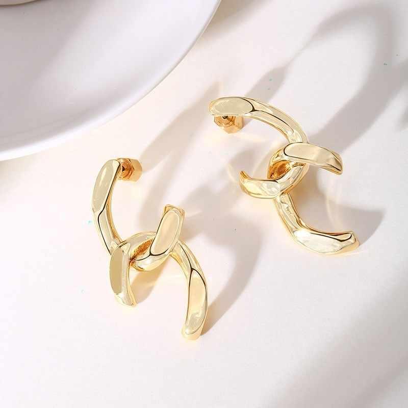 Double Inital C lettre femmes boucles d'oreilles couleur or en acier inoxydable bijoux à breloques