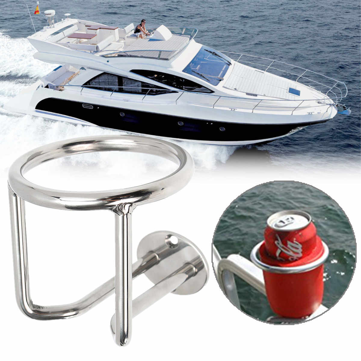 1pcs Folding Drink Cup Holder Marine Cup Holder Stainless Steel Marine Boat Cup Holder with 4 Screw for Car Boat Marine Caravan Trucks