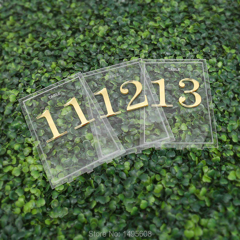 Centerpieces Luxury Clear Acrylic Wedding Table Numbers holders  ,Calligraphy Gold Mirror Wedding Signs, acrylic table numbers