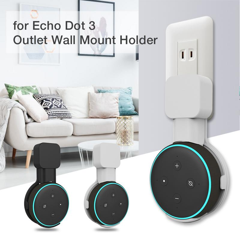 Outlet Wall Mount Holder Space Saving Stand Bracket Assistants Accessories For Echo Dot 3 Smart Speaker With Cord Arrangement