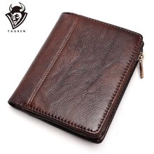RFID Blocking Mens Imported Top Layer Leather Brushed Wallet Handmade Retro Pure Coin Purse