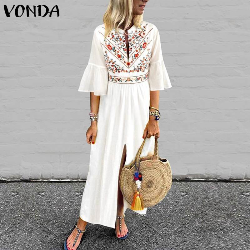 Böhmischen Frauen Vintage Print Kleid 2019 VONDA Sexy V-ausschnitt Rüsche Hülse Split Maxi Lange Kleider Plus Größe Beiläufige Lose vestidos