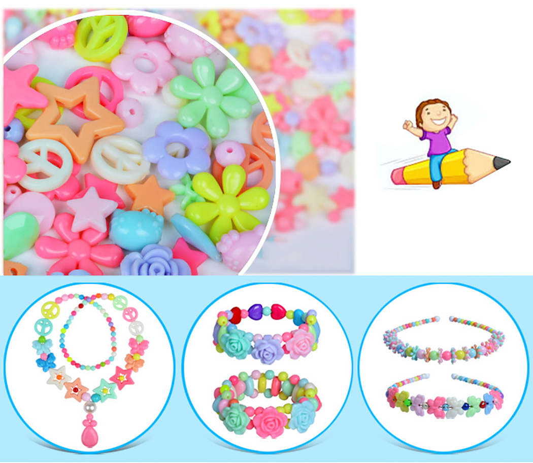 Acrylic DIY Beads Toy DIY Jewelry Beads With Box Children Creative Grid Girl Jewelry Making Toys Educational Toys Children Gifts