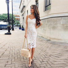 Try Everything White Lace Dress 2019 Women Summer Beach Casual Spagetti Strap Ladies Slim Pencil Dresses For