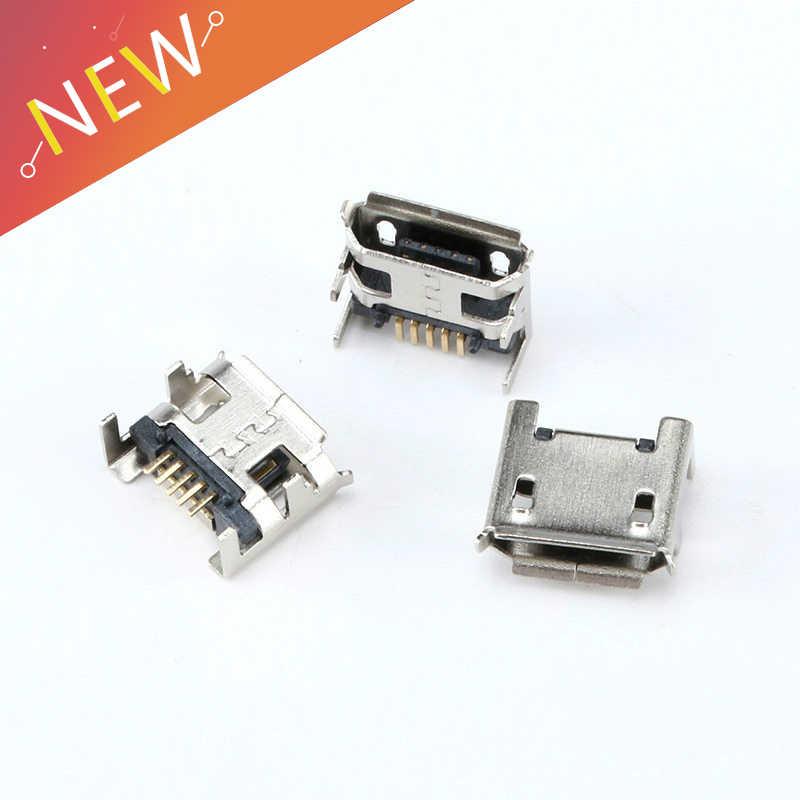 20 piezas Micro USB tipo B 5 Pin conector hembra SMD 4 Patas 90 grados para mesa teléfono móvil DIY accesorios Digital producto