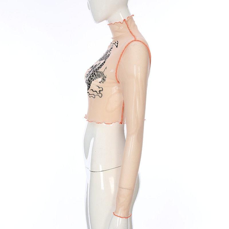 Normal S Soporte Mujeres Transparente Tee Blusas Sexy A Camisa Pura Ver De Malla Través Blusa l Cuello Tamaño Señoras Tops Manga Larga Las 1R1qwSx