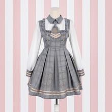 Новое платье в стиле Лолиты женские платья с длинным рукавом и галстуком в консервативном стиле и шерстяной плащ Прямая поставка