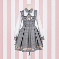 2019 NEW Lolita Dress Detective Bear Cospaly Women's Preppy Style Neck Tie Long Sleeve Dresses And Woolen Cloak Dropshipping