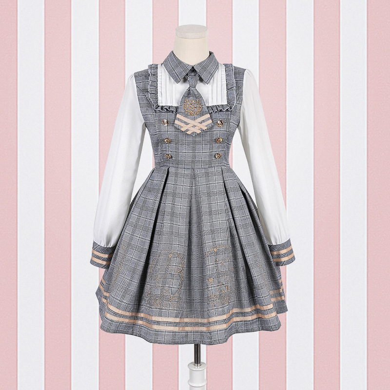 2019 NEW <font><b>Lolita</b></font> <font><b>Dress</b></font> Detective Bear Cospaly Women's Preppy Style Neck Tie Long Sleeve <font><b>Dresses</b></font> And Woolen Cloak Dropshipping image