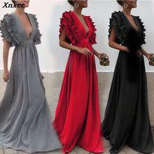 цена на Xnxee 2019 Vestidos Sexy Solid V-Neck Long Dress Summer Women Dresses Fashion Club Maxi Dress Vestido De Fiesta Party Dress