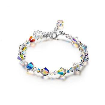 S925 Sterling Silver Bracelet High Grade Charming Czech Crystal Sugar Shape Bracelet For Women 1