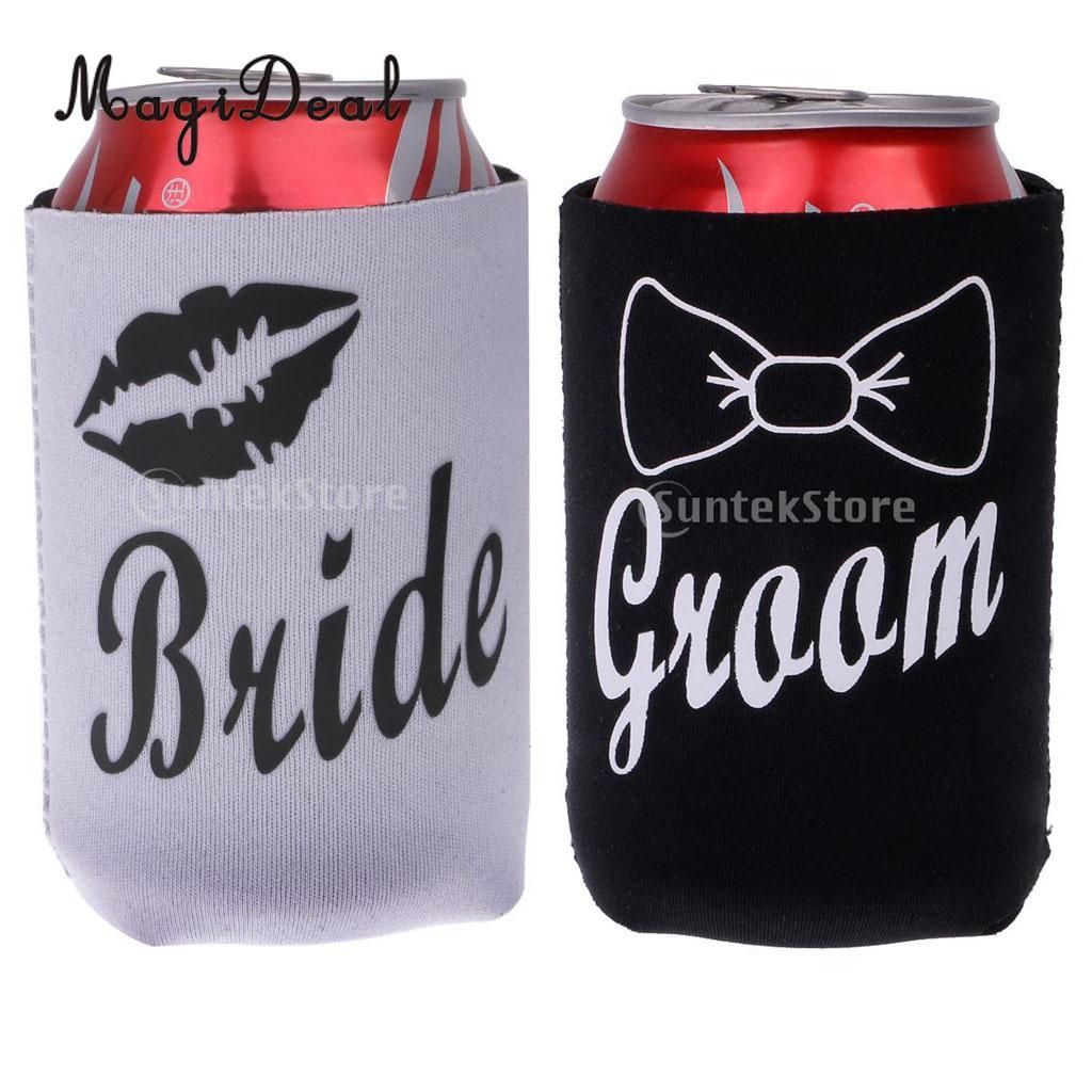 MagiDeal 2Pcs Neoprene Bride Lips Groom Stubby Beer Tin Can Cooler Sleeve Holder For Wedding Party Picnic BBQ Novelty Gift
