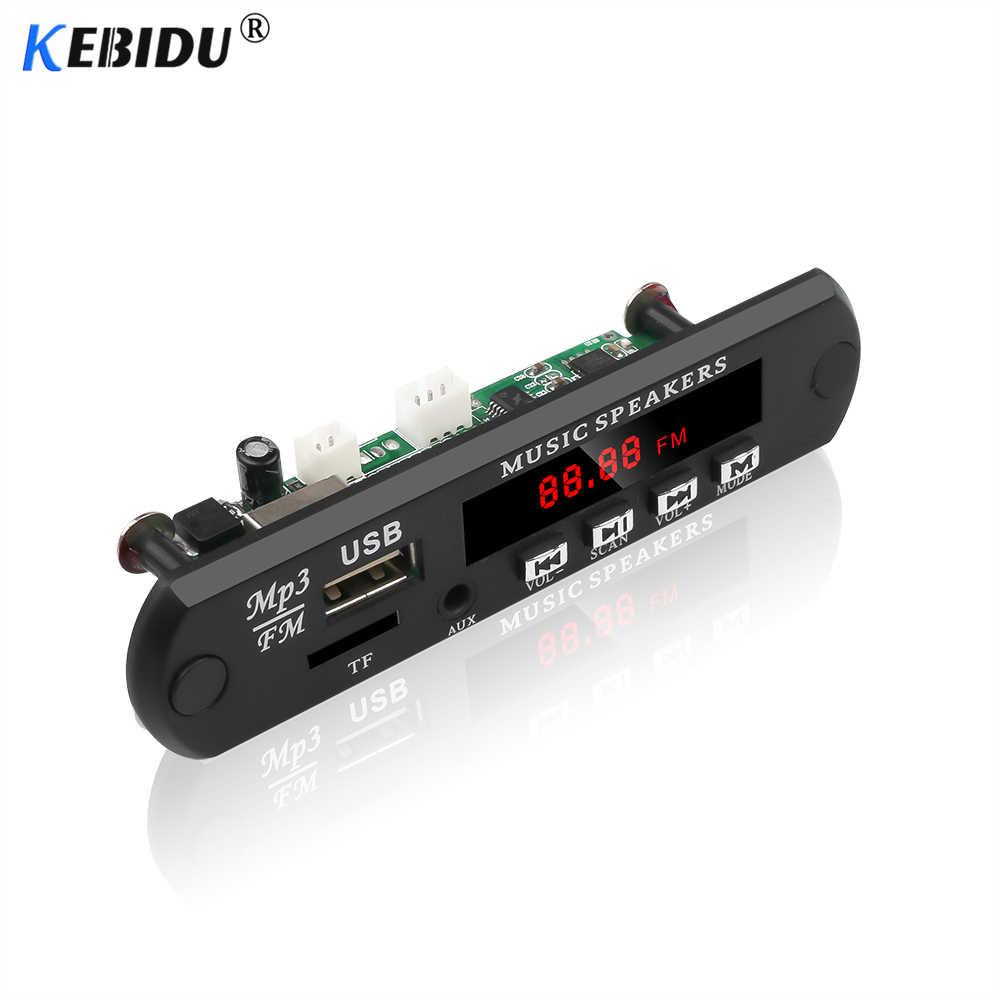 Kebidu sem bluetooth mp3 wma wav decodificador placa mp3 player áudio do carro usb tf fm módulo de rádio 5 v 12 v com controle remoto para carro